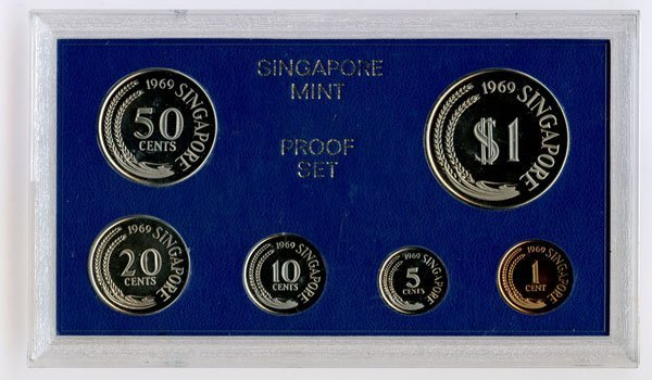 SINGAPORE Proof Set: 1969. Rare.