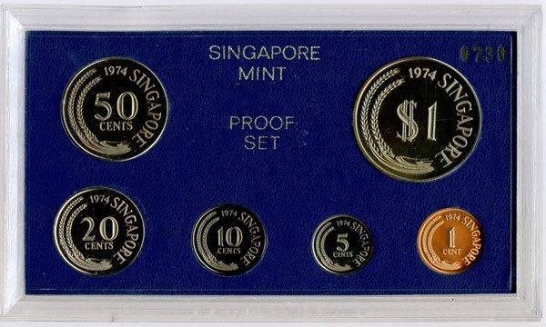 SINGAPORE Proof Set: 1974. Rare.
