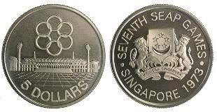 SINGAPORE Silver $5 SEAP Game 1973