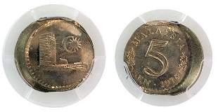 MALAYSIA Cu-Ni 5¢ 1976, PCGS MS 64