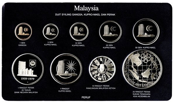 MALAYSIA Proof Set of 1¢ to RM-25 1980 (9pcs)