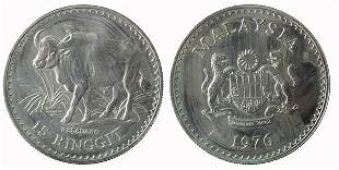 MALAYSIA Silver RM-15 and RM-25 1976 UNC