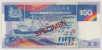 SINGAPORE Ship $50 Specimen Ex.Rare