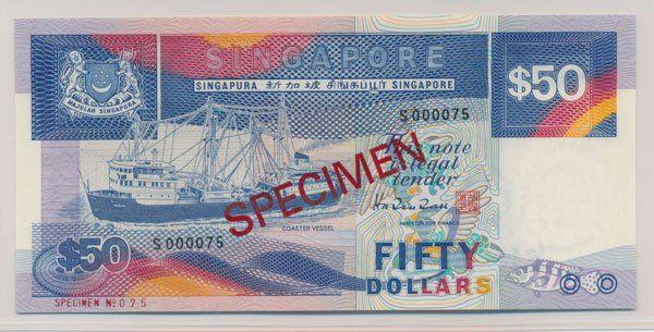 SINGAPORE Ship $50 Specimen Extremely Rare