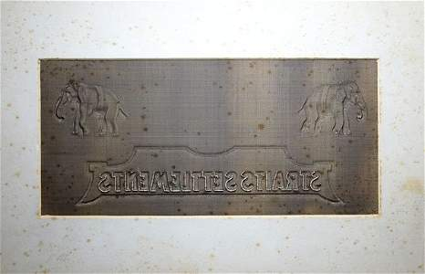 STRAITS SETTLEMENTS Wire mesh watermark plate
