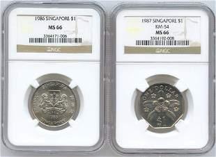 SINGAPORE - MODERN ISSUES. Cu-Ni: $1 1986 & 1987. NGC