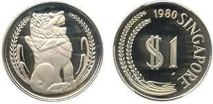 SINGAPORE - MODERN ISSUES. Silver $1 1980 PCGS PR