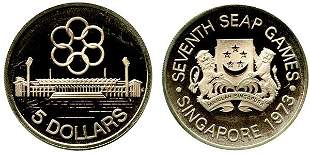 SINGAPORE - MODERN ISSUES. Silver $5 1973 (KM 10)