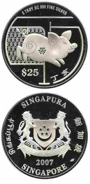 SINGAPORE - MODERN ISSUES. Silver $25 2007 5 ozs lunar