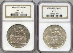 FRENCH INDO-CHINA. Silver Piastre 1898A and 1899A (KM