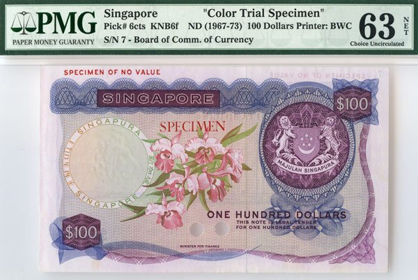 SINGAPORE - MODERN ISSUES.  Orchid Series: $100 Color