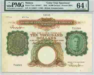 MALAYA.  George VI: Production Specimen $10000 1942 A/1