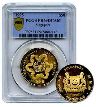 SINGAPORE - MODERNGold $50 1995, 50th Anniversary –