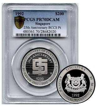 SINGAPORE - MODERNPlatinum $200 1992 BCCS 25th
