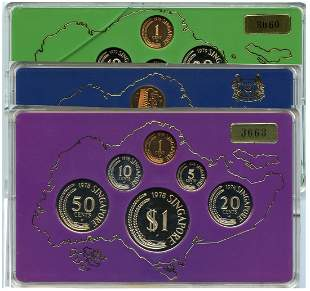 SINGAPORE - MODERNProof coin set 1978 1c-$1 in wooden