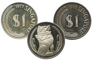 SINGAPORE - MODERNSilver: Proof $1 1975 & 1977. Box but