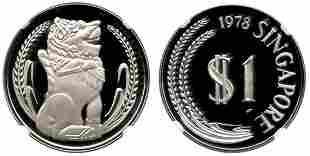 SINGAPORE - MODERNSilver: Proof Merlion Dollar 1978.