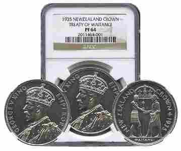 NEW ZEALAND Silver: Crown 1935, Treaty of Waitangi