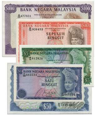 MALAYSIA - MODERN 3rd Series: Set of RM1, 5, 10, 50