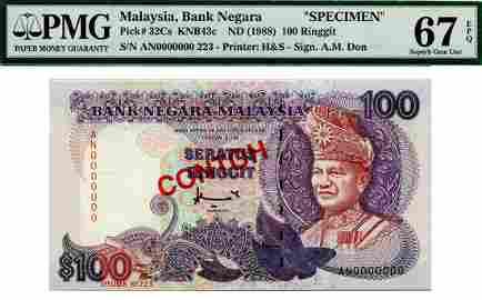 MALAYSIA - MODERN 7th Series: RM 100, Saratus, s/n A/N
