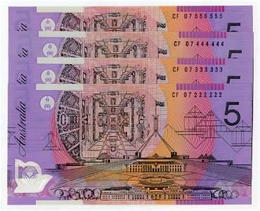AUSTRALIA Polymer $5 2007 s/n CF 07 222222-555555 (P