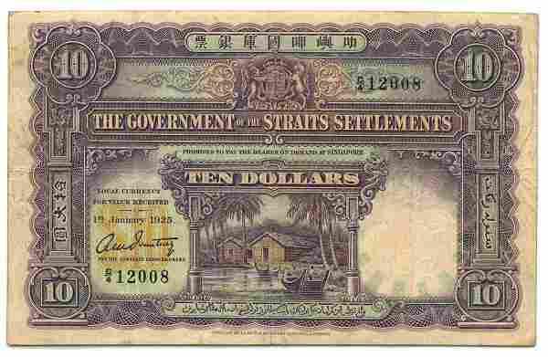 STRAITS SETTLEMENTS British Administration: $10 1925