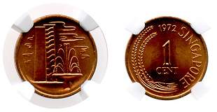 SINGAPORE Bronze: 1-Cent 1972. NGC MS67 RB, possibly