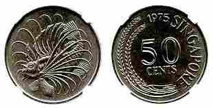 SINGAPORE Cu-Ni: 50-Cents 1975, Key date. NGC MS 67.