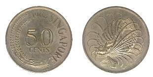 """SINGAPORE Cu-Ni: 50-Cents 1968 with """"Dot"""" variety, 3mm"""