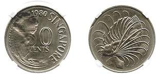 "SINGAPORE Cu-Ni: 50-Cents 1980 Mint error ""obverse"