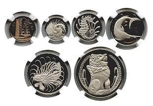 SINGAPORE Proof Set: 1, 5, 10, 20, 50-Cents & $1, 1968.