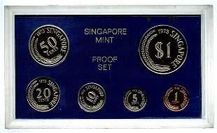 SINGAPORE Proof Set: 1-, 5-, 10, 20-, 50-Cents & $1