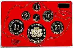 SINGAPORE Proof Set: 1-, 5-, 10, 20-, 50-Cents, $1 &