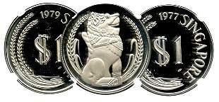 SINGAPORE Silver: Proof Merlion Dollar 1977 & 1979. NGC