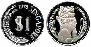 SINGAPORE Silver Proof Merlion Dollar 1978. NGC PF69
