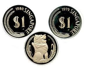 SINGAPORE Silver: Proof Merlion Dollar 1979 & 1980.