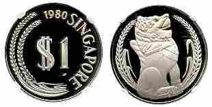 SINGAPORE Silver Proof Merlion Dollar 1980. NGC PF70