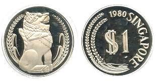 SINGAPORE Silver: Proof Merlion Dollar 1980 (KM 6)