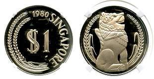 SINGAPORE Silver: Proof Merlion Dollar 1980. NGC PF 67