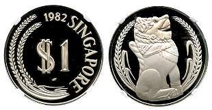 SINGAPORE Silver Proof Merlion Dollar 1982. NGC PF70