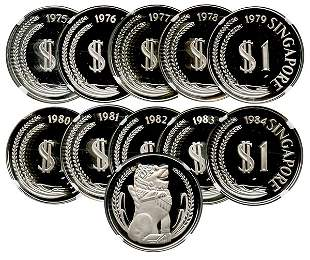 SINGAPORE Silver: Proof Merlion Dollar 1975-1984. All