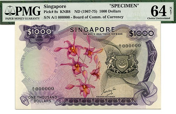 SINGAPORE Orchid Series: $1000 GKS A/1 000000 (KNB8)