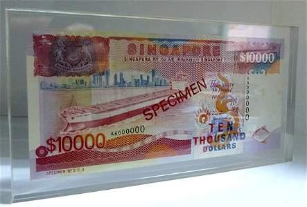 SINGAPORE Ship Series: Specimen $10,000 HTT AA000000