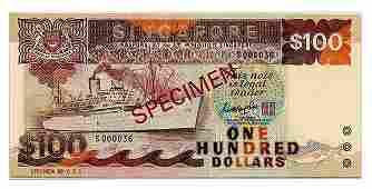 SINGAPORE Ship Series: Specimen $100 GKS S000036