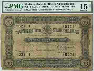 STRAITS SETTLEMENTS $5 1898 PMG 15 NET