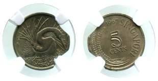 SINGAPORE Cu-Ni: 5-Cents 1967