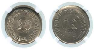 SINGAPORE Cu-Ni: 20-Cents 1967