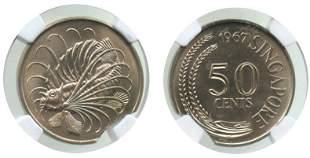 SINGAPORE Cu-Ni: 50-Cents 1967