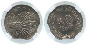 SINGAPORE Cu-Ni: 50-Cents 1981