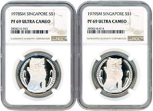 SINGAPORE Silver: $1 Proof 1978 & 1979